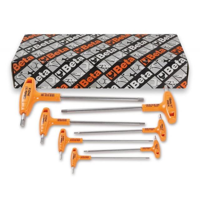 Serie di 7 chiavi maschio esagonale piegate con impugnatura di manovra in acciaio inossidabile - BetaINOX 96TINOX-AS/S7