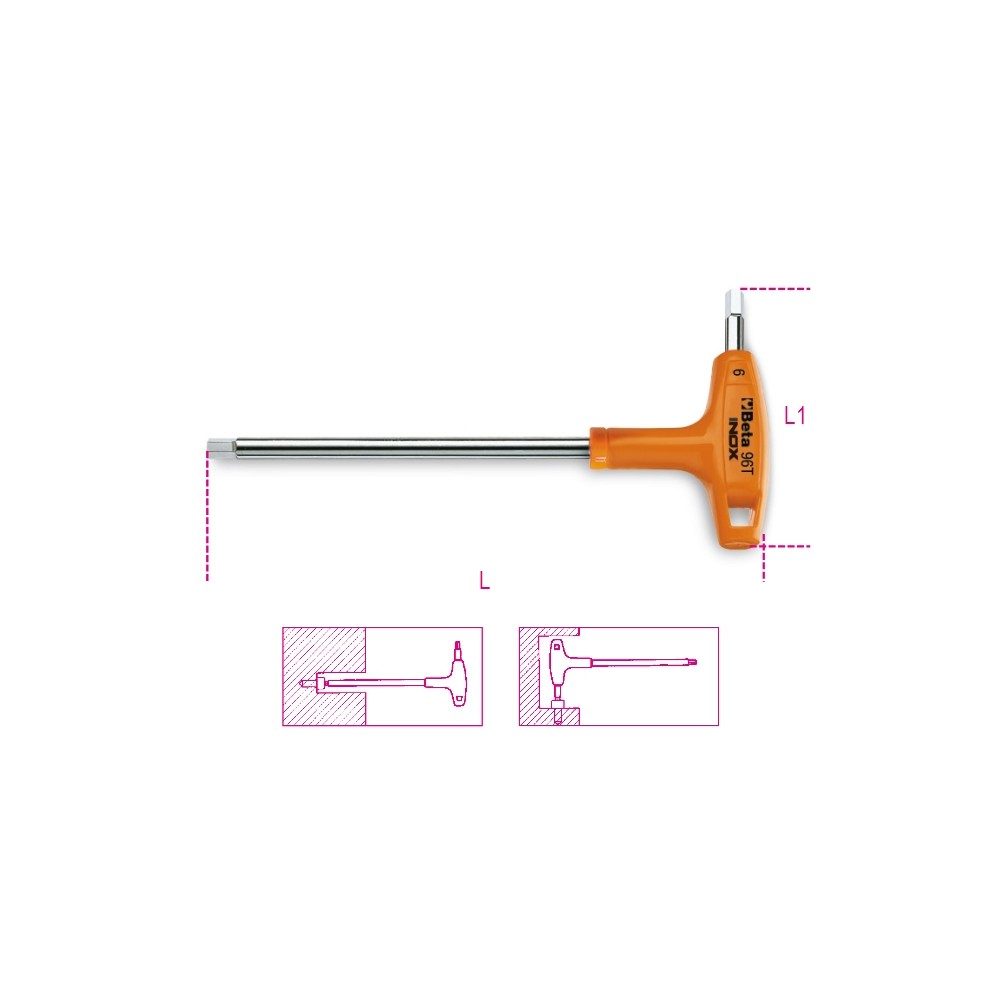 Chiavi maschio esagonale piegate con impugnatura di manovra in acciaio inossidabile - BetaINOX 96TINOX