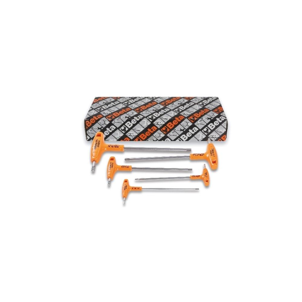 Serie di 5 chiavi maschio esagonale piegate con impugnatura di manovra in acciaio inossidabile - BetaINOX 96TINOX/S5
