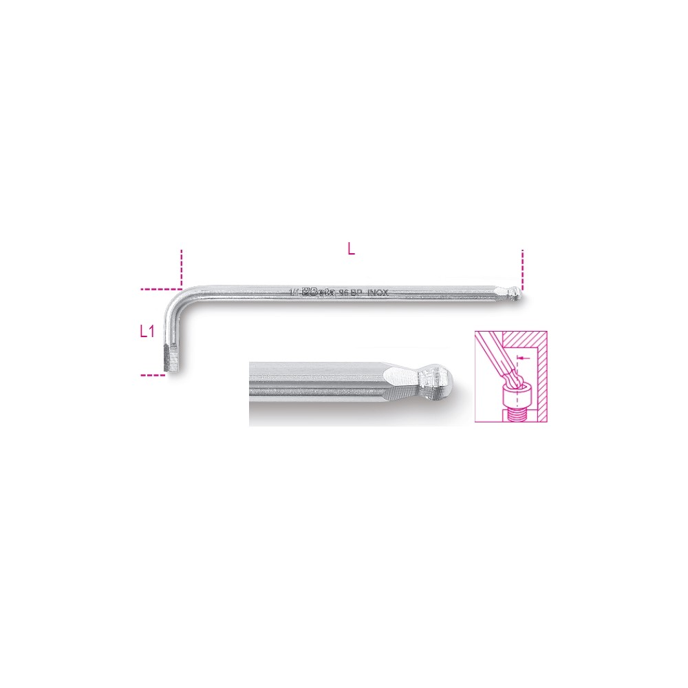 Ball head offset hexagon key wrenches, made of stainless steel - Beta 96BPINOX-AS