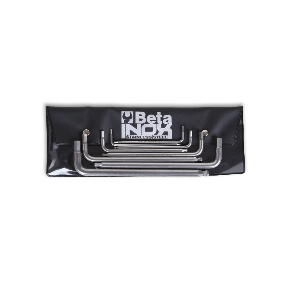 Serie di 7 chiavi maschio esagonale piegate con estremità sferica in acciaio inossidabile, in busta - BetaINOX 96BPINOX-AS/B8