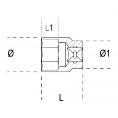 """Dugókulcs 1/2"""" négyszögű belső csatlakozóval hatlapú kialakítás, rozsdamentes acélból - Beta 920INOX-A"""