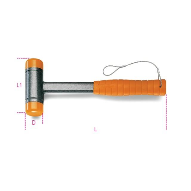 Mazzuole antirimbalzo con battenti intercambiabili in materiale plastico manico in acciaio H-SAFE - Beta 1392HS