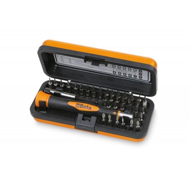 Bimateriál-műszerész csavarhúzó 36 cserélhető 4 mm-es bit-tel és mágneses