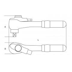 """Cricchetto reversibile con attacco quadro maschio 1/2"""" con sistema di bloccaggio bussola - Beta 920MQ/55A"""