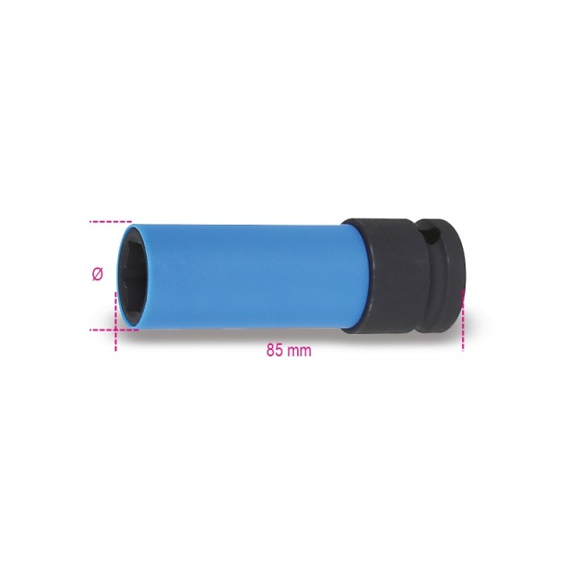 Wheel nut impact sockets for wheel nuts, with coloured polymeric inserts - Beta 720LC