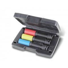 Coffret en plastique de 3 douilles à chocs colorées, série longue, avec embouts polymères pour écrous de roues - Beta 720LCL/C3