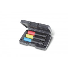 Set of 3 impact sockets for wheel nuts, long series, coloured, with polymeric inserts, in plastic case - Beta 720LCL/C3