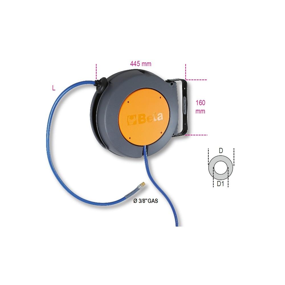 Avvolgitubo automatico corpo in materiale plastico antiurto per aria compressa o acqua fredda - Beta 1901T/10