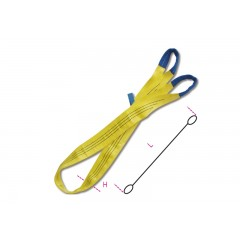 Lifting web slings, yellow 3t two layers with reinforced eyes high-tenacity polyester (PES) belt - Beta 8156