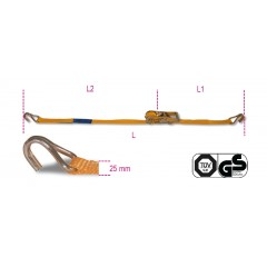 Ratchet tie down with single hook, LC 750kg high-tenacity polyester (PES) belt - Beta 8180