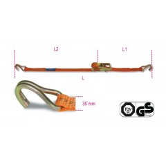 Ratchet tie down with single hook, LC 1000kg high-tenacity polyester (PES) belt - Beta 8181