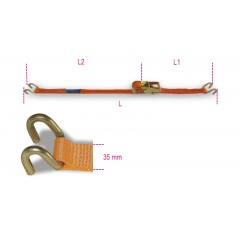 Ratchet tie down with double hook, LC 1000kg, high-tenacity polyester (PES) belt - Beta 8181S