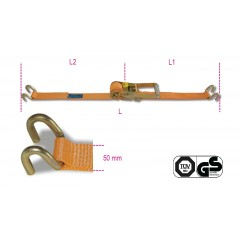 Ratchet tie down with double hook, LC 2000kg high-tenacity polyester (PES) belt - Beta 8182S
