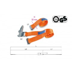 Ratchet tie downs for van and truck interiors, LC 1000 kg, high-tenacity polyester (PES) belt - Beta 8182E