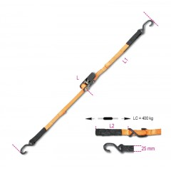 Ratchet tie downs with S-hooks and Eyes, LC 400 kg high-tenacity polyester (PES) strap - Beta 8188CG/25