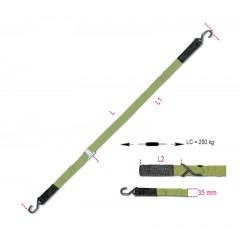 Cam buckle strap with S-hooks and Eyes, LC 250 kg high-grade polypropylene (PP) belt - Beta 8188VFG2