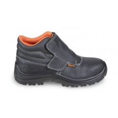 """Lace-up leather ankle shoe, """"welder style"""", water-repellent, with quick opening system and front protection with strap closure"""