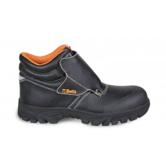 """Lace-up black leather shoe, """"welder"""" style, water-repellent, with quick opening system and front protection with strap fastening"""