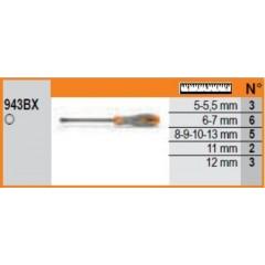 Espositore da parete con 43 chiavi a bussola esagonale con impugnatura tipo lungo - SHOPinShop 943BX/DG