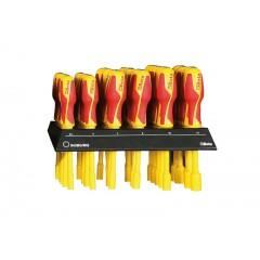 Espositore da parete con 30 chiavi a bussola esagonale con impugnatura - SHOPinShop 943MQ/BG