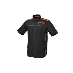 Chemise manches courtes en coton popeline 100%, 110 g/m2, empiècements tissu orange et piping blanc, bouton orange en contraste