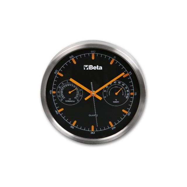 Orologio da parete dotato di termometro ed igrometro, diametro 26 cm - BETACollection 9594