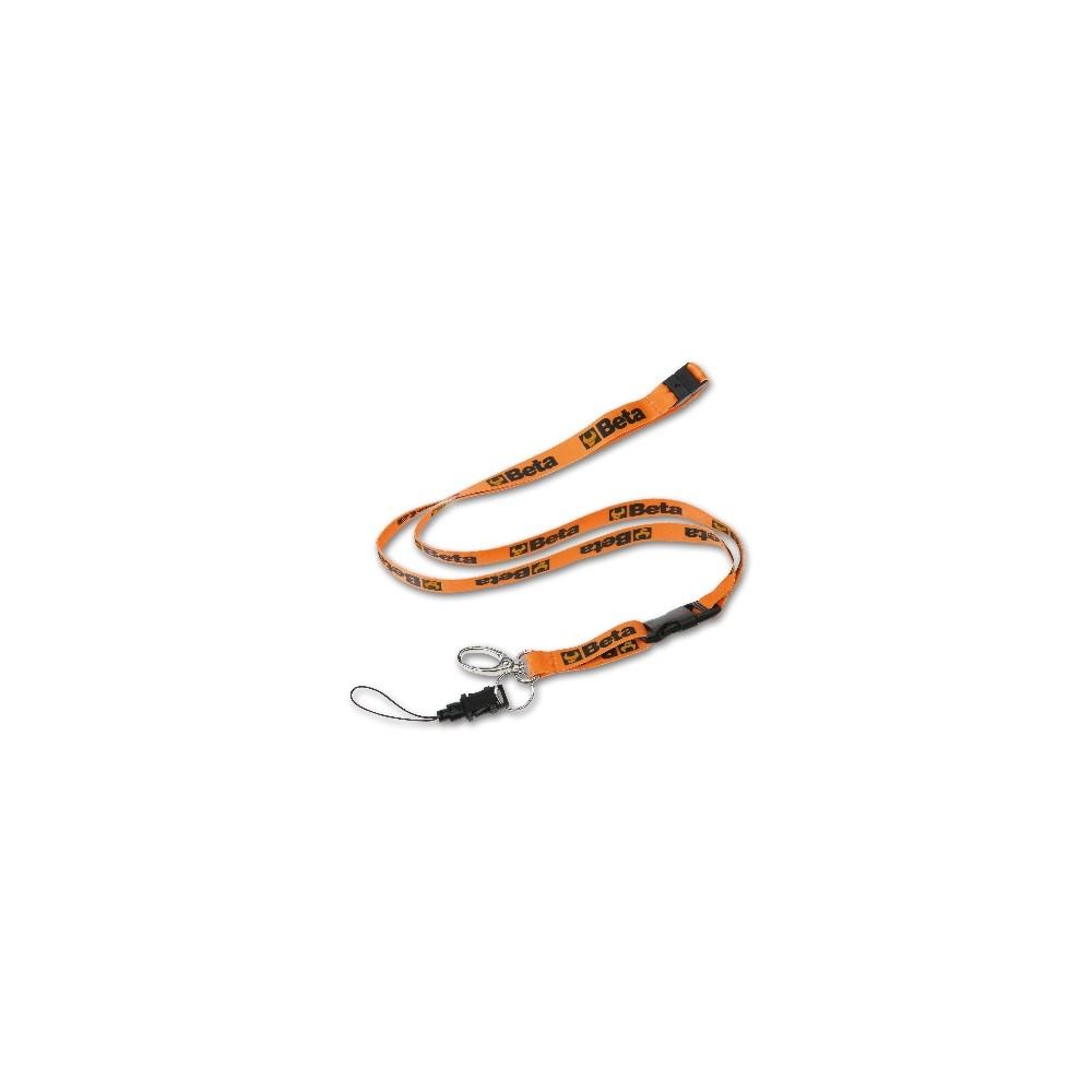 Portabadge in poliestere con moschettone in metallo e filo portatelefono - BETACollection 9596