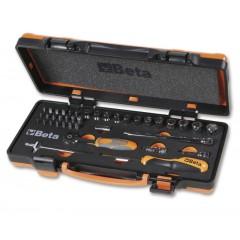 12 darab hatlapú dugókulcs, 20 darab csavarhúzóbetét és 7 tartozék szivacsbetétes fémdobozban - Beta 900/C12MZ
