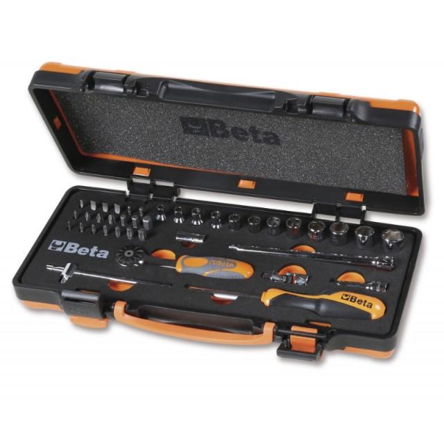 Assortimento di 12 chiavi a bussola esagonali, 20 inserti per avvitatori e 7 accessori in termoformato morbido, in cassetta di