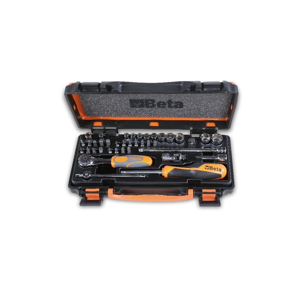Assortimento di 11 chiavi a bussola esagonali, 20 inserti per avvitatori e 8 accessori in cassetta di lamiera - Beta 900/C11Z