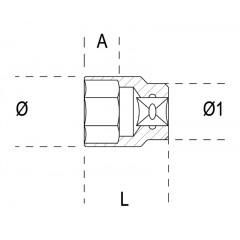 "Douille multidents, carré femelle 1/4"", chromée - Beta 900U"