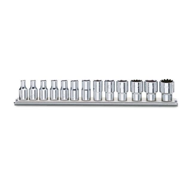 """Serie di chiavi a bussola con attacco quadro femmina 1/4"""" bocca multimpronta, cromate - Beta 900U/SB"""