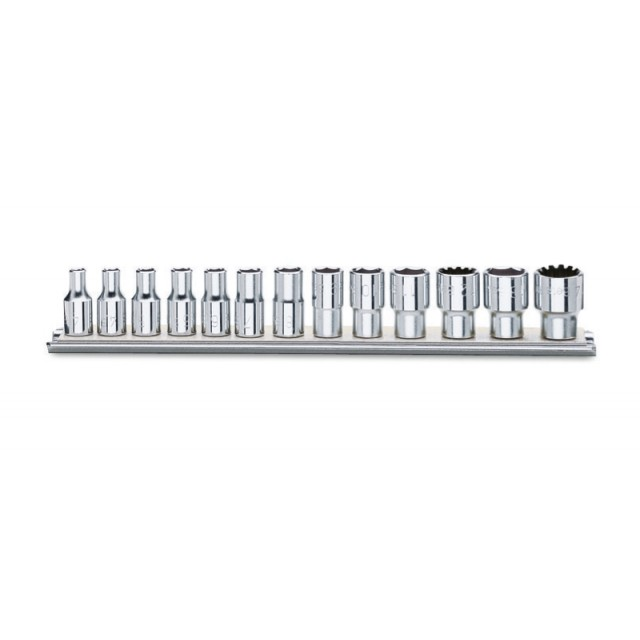 "Set of gear lock hand sockets, 1/4"" female drive, chrome-plated - Beta 900U/SB"