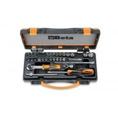 Coffret métallique comprenant 1 cliquet avec 11 douilles 6 pans, 13 douilles tournevis et 6 accessoires - Beta 900MC/C24