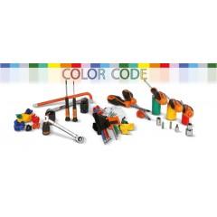 Zestaw 11 nasadek sześciokątnych i 13 nasadek z końcówką wkrętakową oznaczonych kolorem, z akcesoriami, w pudełku metalowym -