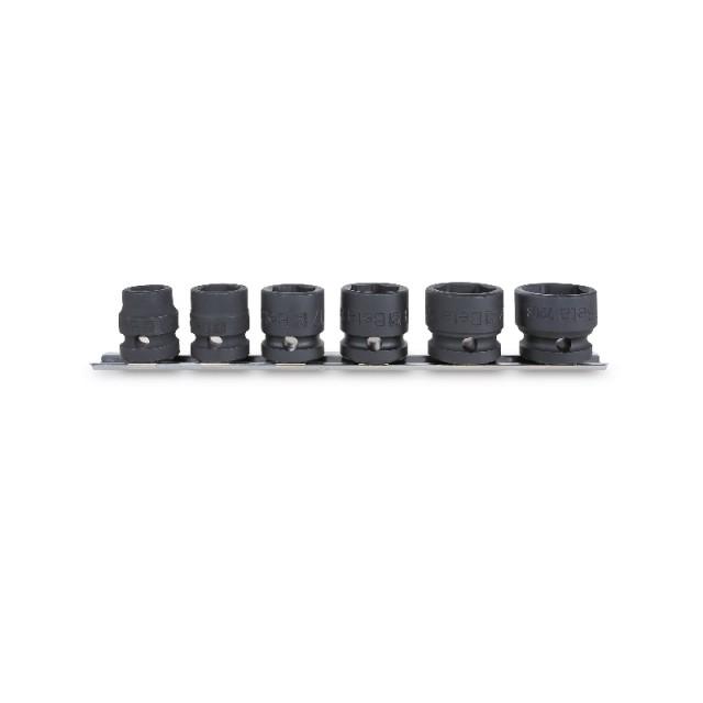 """Jeu de 6 douilles à chocs compactes, carré femelle 1/2"""", avec guide de fixation au mur : 13 - 15 - 17 -19 - 22 - 24 mm - Beta"""