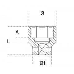 "Hexagon impact sockets, 1/2"" female drive, coloured, standard series, phosphatized - Beta 720MC"