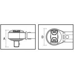 Chiave dinamometrica a scatto, non graduata con cricchetto reversibile Adatta a serraggi destrorsi Precisione di serraggio ± 4