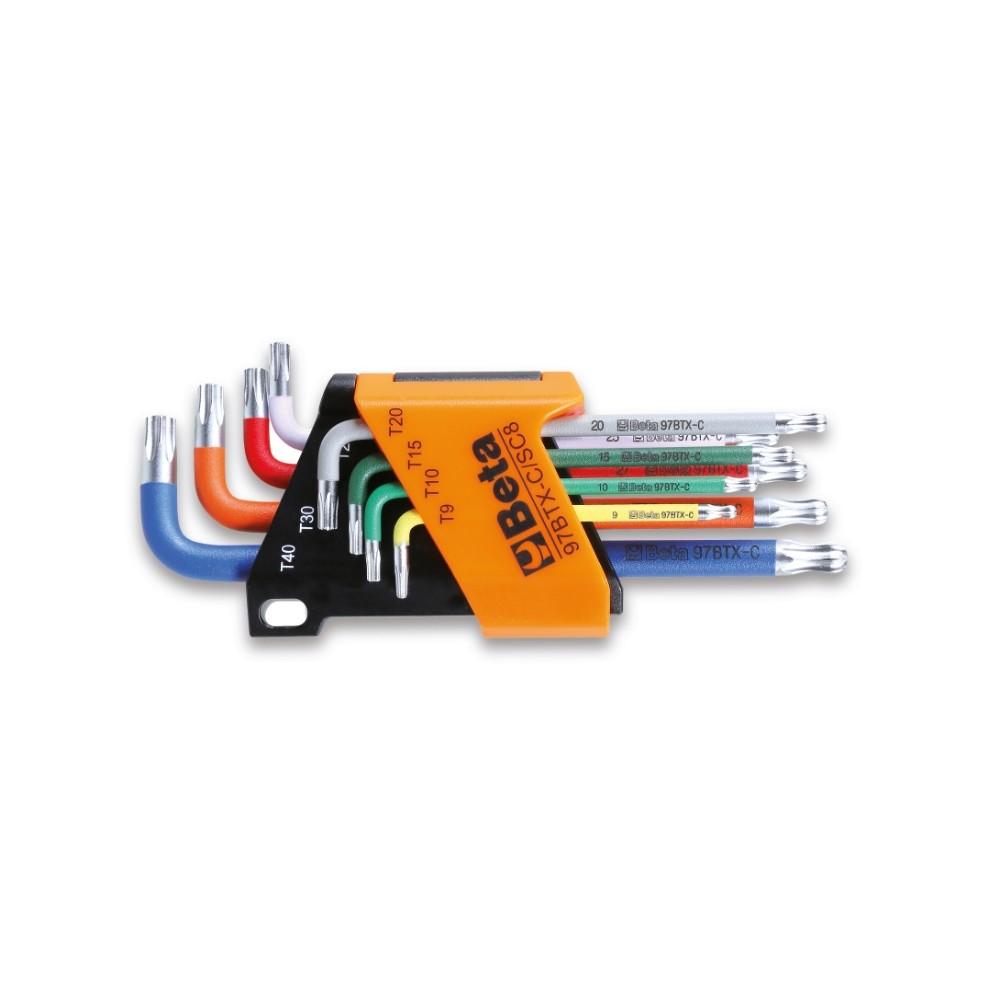 Serie di 8 chiavi maschio piegate colorate con un'estremità sferica per viti con impronta Torx® - Beta 97BTX-C/SC8