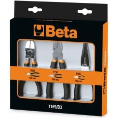 Assortimento di 1 pinza universale, 1 pinza becchi mezzotondi lunghi e 1 tronchese, con 2 strati di PVC antis... - Beta 1169/D3