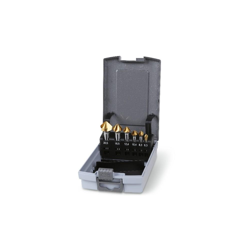 Komplet pogłębiaczy stożkowych z trzema krawędziami tnącymi, w pudełku z tworzywa sztucznego - Beta 426T/SP