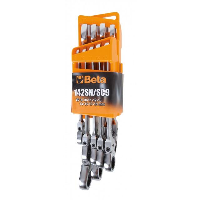 Serie di 9 chiavi combinate a cricchetto snodate (art. 142SN) con supporto