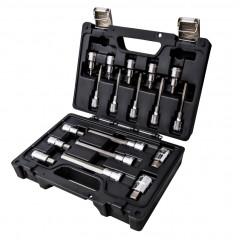 Assortimento di 18 chiavi a bussola per viti con impronta esagonale in cassetta