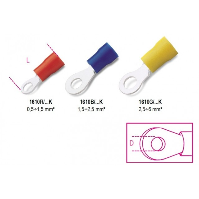 TERMINALI CON OCCHIELLO 2,5-6mm, foro 8mm, Beta 1610G/8K