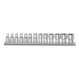 Serie di chiavi a bussola con attacco quadro 1/4 su guida portabussole 900/SB